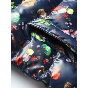 Floral Print Zip-Up Stand Collar Padded Jacket -