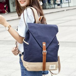 Buckle Strap Canvas Color Block Backpack -