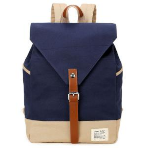 Buckle Strap Canvas Color Block Backpack