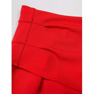 Off The Shoulder Bell Sleeve Crop Top - RED L