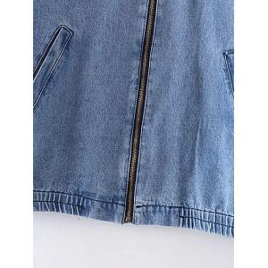 Bleach Wash Denim Bomber Jacket -