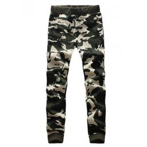 Camouflage Drawstring Long Sleeve Active Suit (Jacket with Pants) -