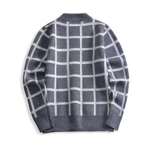 Ribbed Trim Cashmere Crewneck Plaid Sweater -