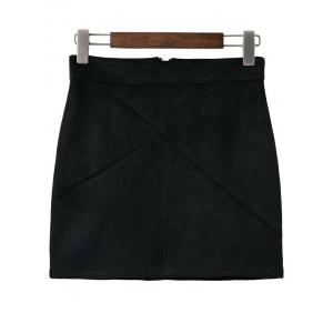 Faux Suede Mini Skirt - Black - S