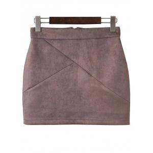 Faux Suede Mini Skirt - Pale Pinkish Grey - S