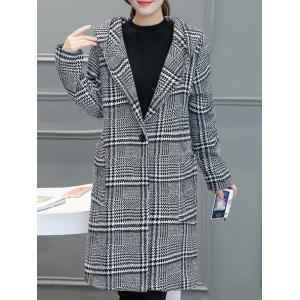 Houndstooth Hooded Wool Blend Coat -
