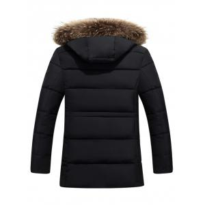 Furry Hood Color Block Zip-Up Padded Coat - BLACK 3XL