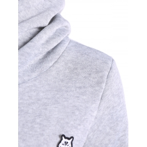 Patched Casual Hoodie - LIGHT GRAY XL