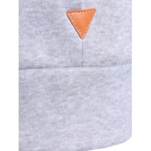 Patched Casual Hoodie - LIGHT GRAY M
