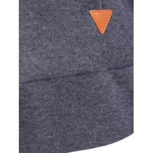 Patched Casual Hoodie - DEEP GRAY L