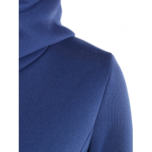 Patched Casual Hoodie - BLUE 2XL