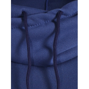 Patched Casual Hoodie - BLUE L