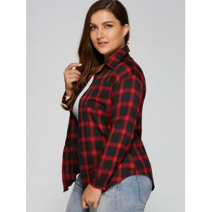 Flannel Plus Size Plaid Shirt - WINE RED 3XL