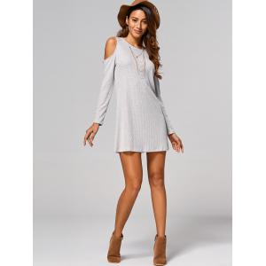 Cut Out Ribbed Casual Tunic Jumper Dress -
