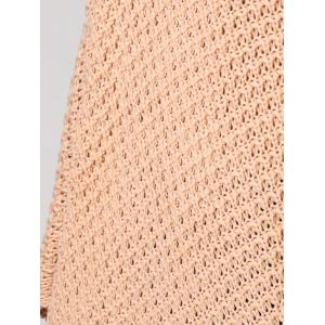 Hollow Out Tassels Handkerchief Cape Sweater - APRICOT M