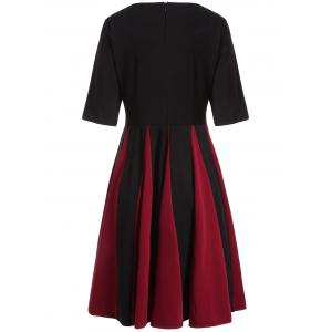 Color Block Fit and Flare Pleated Dress - BLACK 2XL