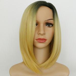 Ombre Medium Straight Side Parting Synthetic Wig - COLORMIX