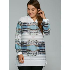 Plus Size Buildings Print Adjustable Sleeve Blouse