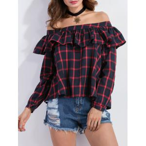 Off The Shoulder Ruffles Plaid Blouse -