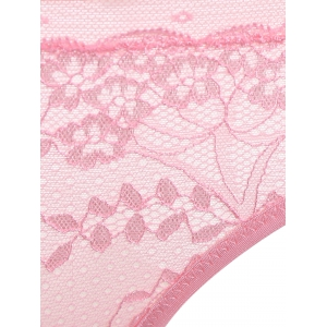Embroidered Seamless Lace Underwear Bra Panty Set - PINK 80B