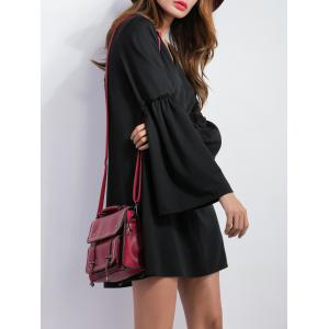 V Neck Bell Sleeve Shift Mini Dress - BLACK XL