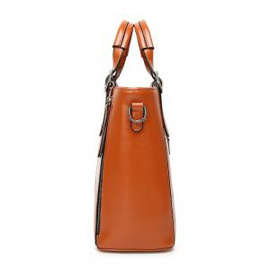 Zippers Buckles PU Leather Tote Bag - BROWN