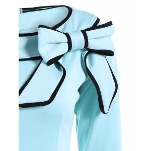 Slash Neck Bowknot Pencil Dress - LIGHT BLUE 2XL
