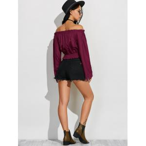 Off Shoulder Fluid Blouson Top -