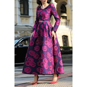 Jacquard Long Sleeve Maxi Formal Party Dress