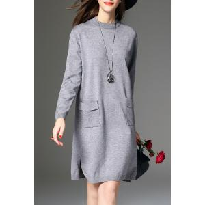 Slit Knitted Long Sleeve Dress with Pockets