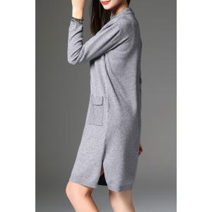 Slit Knitted Long Sleeve Dress with Pockets - GRAY ONE SIZE
