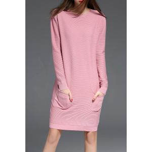 Ribbed Long Sleeve Sweater Dress with Pocket