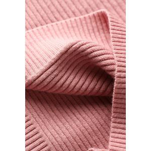 Ribbed Long Sleeve Sweater Dress with Pocket - SHALLOW PINK ONE SIZE