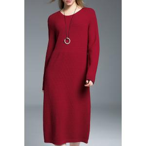 Ribbed Long Sweater Dress - Red - L