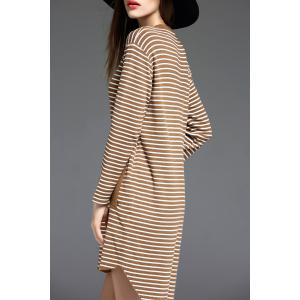 Long Sleeve Striped Sweater Shift Dress - CAMEL ONE SIZE