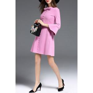 Bow Collar Bell Bottom Sleeve Dress -
