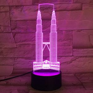 Color Changeable 3D Visual Double Towers Bedroom LED Night Light -