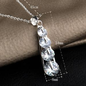 Tiered Water Drop Rhinestone Necklace -