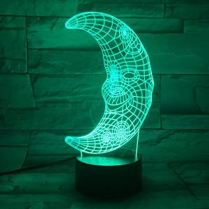 3D Visual LED Colorful Moon Shape Bedroom Party Decor Night Light - COLORFUL