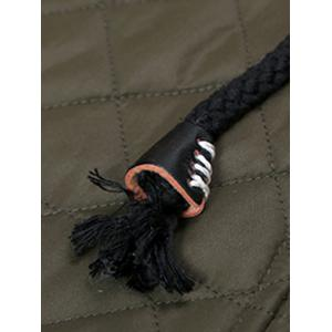 Drawstring Hooded Zip-Up Snap-Fastener Quilted Jacket -
