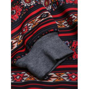 Tribal Print Contrast Pocket Raglan Sleeve Hoodie - BLACK XL