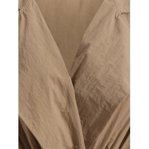 Plus Size Drawstring Trench Coat with Pocket - CAMEL 4XL