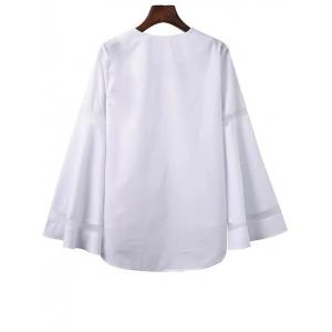 Bell Sleeve High Low T-Shirt with Mesh Panel - WHITE L