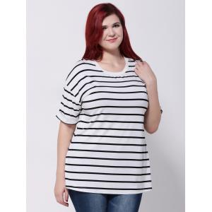 Drop Shoulder Striped T-Shirt -