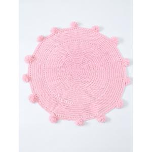 Pompon Edge Hollow Out Crochet Knit Round Blanket - PINK ONE SIZE(FIT SIZE XS TO M)