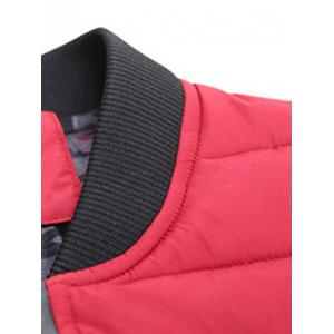 Stand Collar Zip-Up Striped Pattern Quilted Jacket -