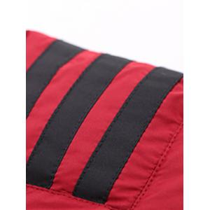 Stand Collar Zip-Up Striped Pattern Quilted Jacket - RED 2XL