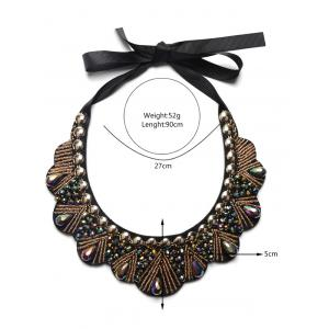 Faux Gem Water Drop Beads Necklace - BROWN