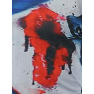 Round Neck 3D Bloody Print Short Sleeve T-Shirt - COLORMIX 2XL