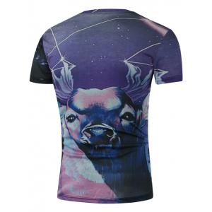 Round Neck 3D Starry Sky and Deer Print Short Sleeve T-Shirt - COLORMIX 2XL